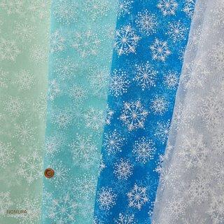 要出典 子供用シュシュ 作り方 ポリエステルオーガンジーラメプリント 雪の結晶