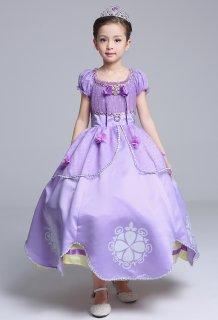 要出典 女の子 クリスマスプレゼント 4歳 5歳 6歳 ソフィア ロングドレス お姫様 キッズドレス 2点セット