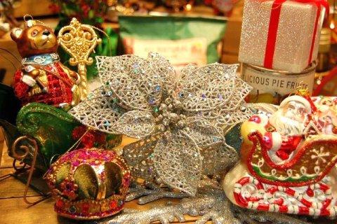 クリスマス オーナメント ボール 飾り グリッターオーナメント ポインセチア クリスマスツリーの飾り