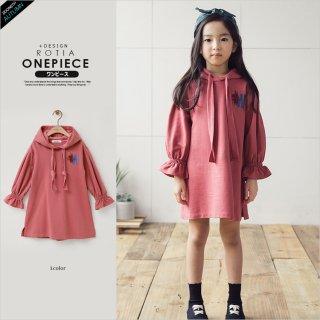 要出典 子供用ワンピース 女の子 刺繍 子供服 フード付きワンピース