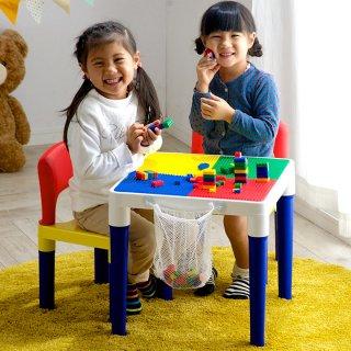 要出典 クリスマス プレゼント 子供キッズテーブル&キッズチェアーセット 100ピースブロック付