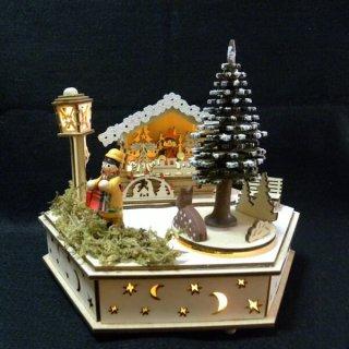 要出典 クリスマス 置物 クリスマス ウッドライトオルゴール