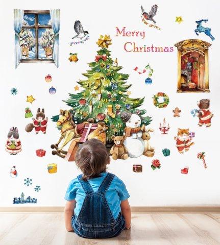 要出典 クリスマスステッカー シルキー ウォールステッカー 動物たちのハッピークリスマス