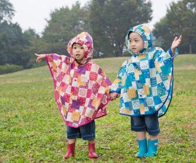 要出典 雨の日 ベビーカー 赤ちゃん おでかけ スタンプル バンダナパッチワーク レインポンチョ ベビー キッズ