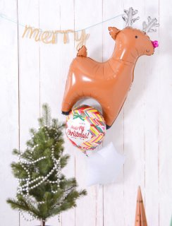 要出典 クリスマス飾り付け トナカイ&スター バルーンブーケ クリスマスバルーン