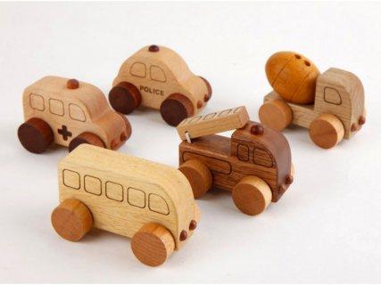 要出典 車 おもちゃ スプソリ 木のおもちゃ 木製ミニカー5個セット 働く車シリーズ