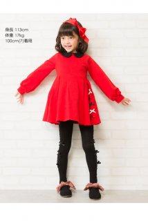 要出典 キッズ サンタクロース クリスマス 衣装 サテンリボンフォーマルワンピース クリスマス 女の子