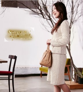 要出典 入学式 ママスーツ WISHRAIN21 オフホワイトスーツ