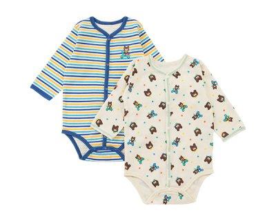 要出典 ロンパース 赤ちゃん マザウェイズ tontan ロンパースクマ柄長袖前開ボディースーツ2枚組