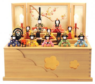 要出典 雛人形 コンパクト 一秀 十人飾り 大和雛 桐収納 木目込人形