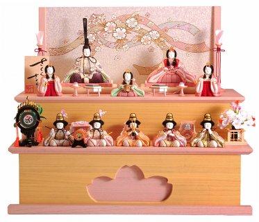 要出典 木目込み 雛人形 一秀 木目込人形 雛人形 さくらさくら 十人飾 二段桐収納セット