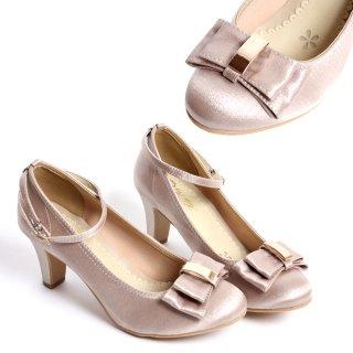 卒業式用 靴 ポイントプレート リボン ストラップパンプス