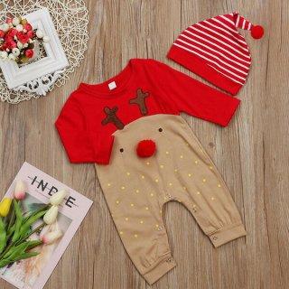 要出典 キッズ サンタクロース クリスマス 衣装 ベビークリスマスロンパース コスプレ トナカイ