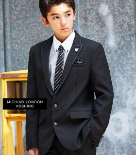 要出典 卒業式 男の子 スーツ ミチコロンドンコシノ サテントリミングジャケットスーツ ゆったりサイズあり 4点セット