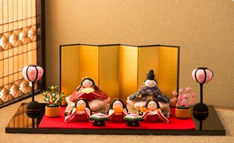要出典 雛人形 ミニ  龍虎堂 桜雛5人揃い ミニ
