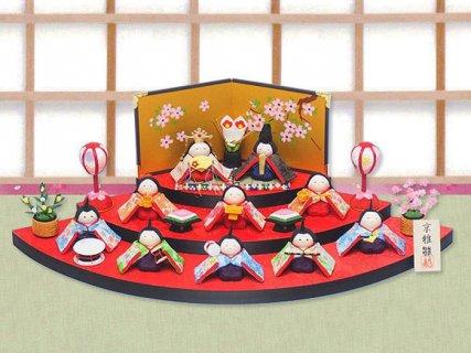 要出典 雛人形 ミニ  龍虎堂 扇面三段わらべ雛10人揃い ミニ雛人形