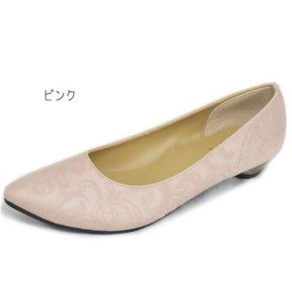 要出典 入園式 ママ 靴 パンプス フィグリーノ 花柄 型押し 撥水ポインテッドパンプス