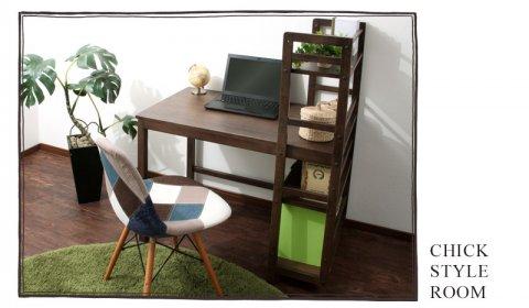 要出典 学習机 天然木製ブックシェルフ付きデスク 学習机