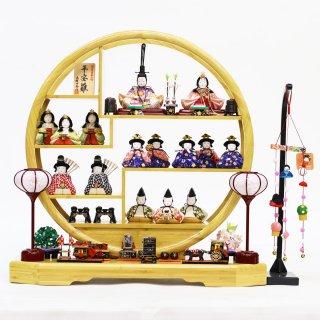 要出典 雛人形 人気 雛人形 一秀 丸窓竹製円形台 十五人飾り お道具揃い