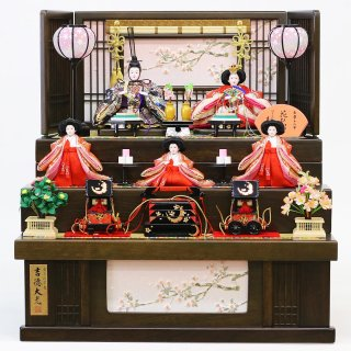 要出典 雛人形 おすすめ 吉徳 雛人形 三段収納飾り 五人飾り 花ひいな 引き出し式収納箱
