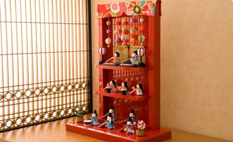 要出典 雛人形 コンパクト 龍虎堂 雛人形 ちりめん 十人飾り わらべ雛 つるし飾り台