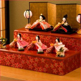 要出典 雛人形 コンパクト 龍虎堂 彩り友禅雛 5人揃い ちりめん 雛人形
