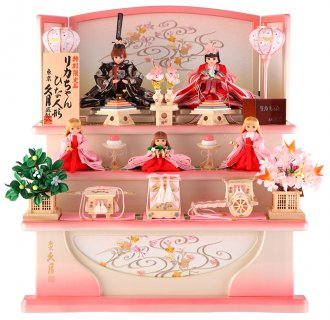 要出典 雛人形 人気 久月 雛人形 リカちゃん 三段飾り 五人飾り シリアル付