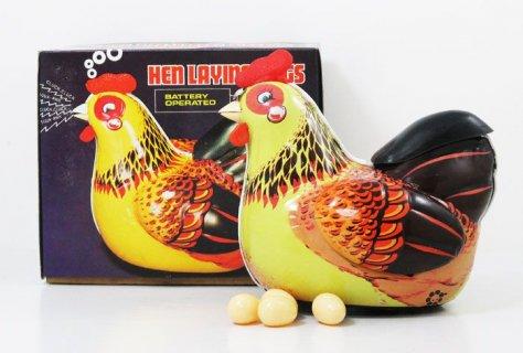 要出典 ブリキのおもちゃ 卵を産むニワトリ バッテリー式