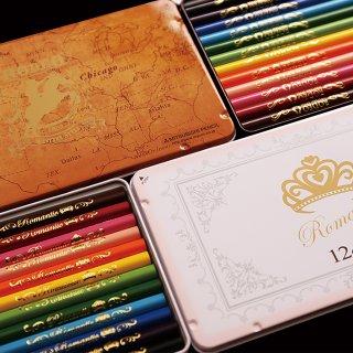 要出典 卒園記念品 LIRICO・三菱鉛筆 名入れ ロマンティック色鉛筆 ロデオ色鉛筆 12色 缶ケース入り