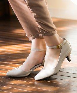 要出典 入園式 ママ 靴 パンプス メヌエ ストラップ ポインテッドトゥ ミドルヒール パンプス