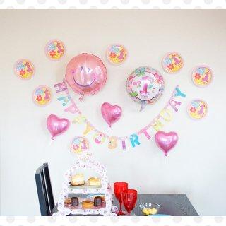 要出典 1歳 誕生日プレゼント 女の子 1stバースデー用バルーン 壁デコセット