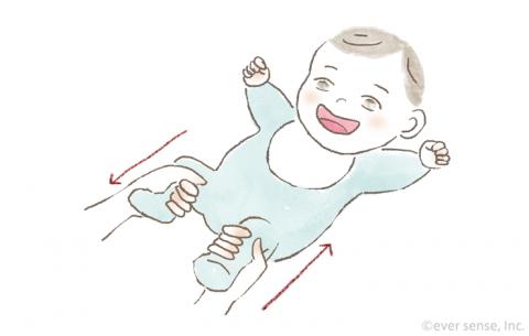 新生児・生後1・2・3ヶ月の赤ちゃんとの遊び方 足の運動遊び イラスト