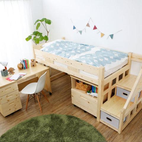 要出典 おしゃれ家具ショップ 木製ロフトベッド 3点セット