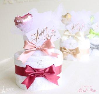 要出典 ベビー用品 プレゼント 今治バスタオル付き2段 イニシャル おむつケーキ 出産祝い