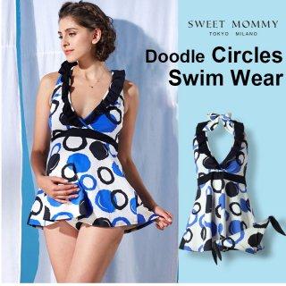 要出典 マタニティ 水着 妊婦 体系カバー ワンピース タンキニ 水着 手描き風バブル柄