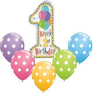 要出典 1歳の誕生日プレゼント 男の子 1歳誕生日 パステルバルーンとマルチカラードットバルーンのセット