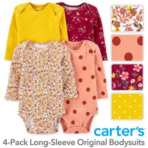 要出典 ロンパース 女の子 カーターズ 長袖4枚組 ロンパース Floral Dotデザイン