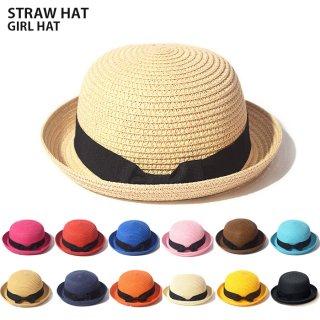 要出典 女の子 帽子 キッズ 女の子 麦わら帽子 たためる ストローハット リボン