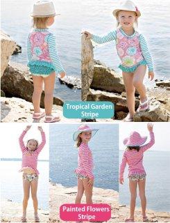 要出典 キッズ 水着 女の子 ラッフルバッツ 女の子水着 ラッシュガード水着 長袖上下セット