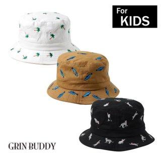 要出典 キッズ 帽子 男の子 グリンバディ 男の子 キッズ 帽子 コットン刺繍バケットハット