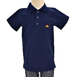 要出典 ポロシャツ キッズ カラフルキャンディスタイル Kidsポロシャツ ネイビー×ステゴザウルス