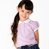 要出典 ポロシャツ キッズ マザウェイズ 女の子 刺繍ワンポイント ボーダー柄半袖ポロシャツ
