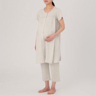 要出典 無印良品 マタニティ オーガニックコットン天竺授乳に便利な半袖パジャマ