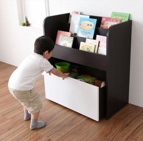 要出典 おもちゃ収納 リビングキッズファニチャーシリーズ スマイル おもちゃ箱付き絵本ラック