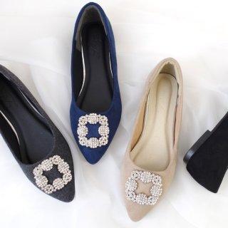 要出典 妊婦 結婚式 靴 シルバービジューフラットパンプス 結婚式 フラット
