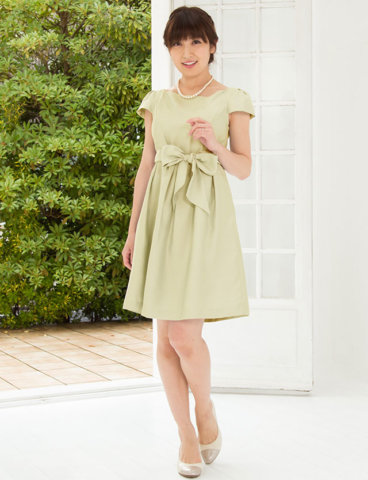 要出典 授乳 ドレス スウィートマミー 授乳服 ウエストリボン ドレス