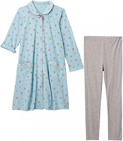 要出典 出産入院のパジャマ マミールナ 授乳口つき花柄ドット 長袖マタニティパジャマ