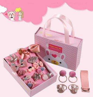 要出典 6歳 女の子 誕生日プレゼント キッズヘアアクセサリー 女の子 18点セット 誕生日プレゼント