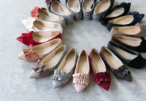 要出典 妊婦 靴 メヌエ フラットシューズ イイ女ポインテッド ポインテッドトゥ フリル パンプス