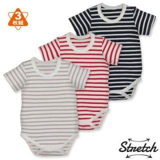 要出典 ロンパース 赤ちゃん  西松屋 3枚組ストレッチ半袖丸首ロンパース肌着 ボーダー